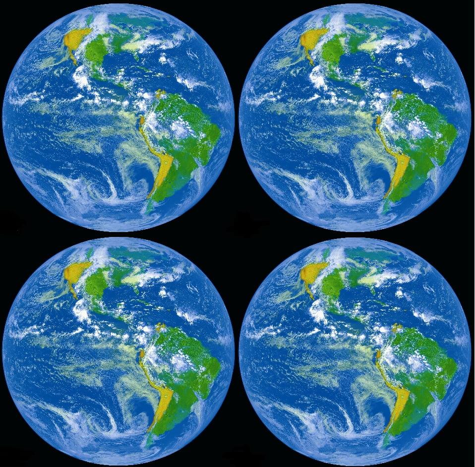 Vier wereldbollen